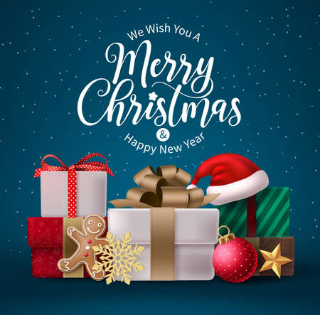 Merry christmas vector design. Merry christmas and happy new year text with gift boxes elements for xmas season greeting card in blue background. Vector illustration