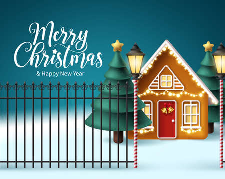Merry christmas vector design. Christmas elements in house outdoor design with snow winter background and xmas tree for holiday season celebration. Vector illustration 矢量图像