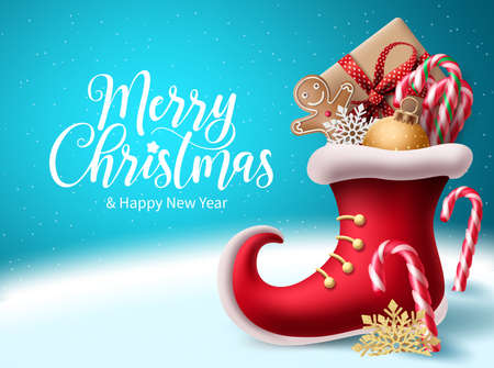 Merry christmas vector background design. Christmas greeting text with 3d realistic red santa shoe and xmas elements for holiday season celebration. Vector illustration