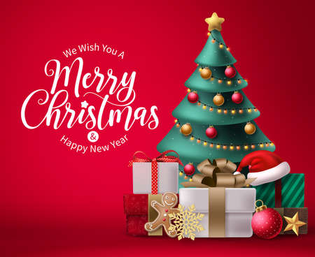 Merry christmas vector background design. Christmas greeting in red space for text with colorful 3d elements like xmas tree, balls, lights and gift box for holiday season celebration. Vector 矢量图像