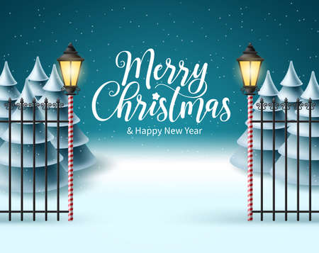 Merry christmas vector background design. Christmas greeting text in snow winter background with falling snowflakes and xmas fir tree for holiday season. Vector illustration