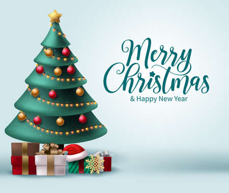 Merry christmas vector background design. Christmas greeting in white space for text with colorful elements like xmas tree, balls, lights and gift box for holiday season celebration. Vector