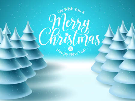 Merry christmas vector background design. Christmas greeting typography in snowy winter space for text with frozen fir tree elements for xmas holiday celebration. Vector illustration