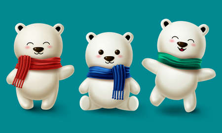 Winter bears character vector set. Teddy bear or polar bear 3d cartoon characters collection wearing scarf for winter season design in blue background. Vector illustration 矢量图像
