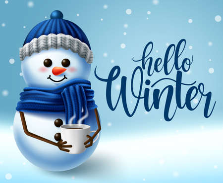 Winter snowman character vector background design. Hello winter typography in empty snowy space for text with snowman character for winter greeting design. Vector illustration