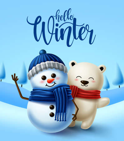 Winter character vector background design. Hello winter greeting text with 3d snowman and polar bear characters in cold snowy background. Vector illustration