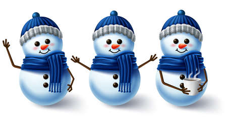 Winter character vector set. Winter snowman 3d characters wearing scarf and hat for winter season collection design isolated in white background. Vector illustration