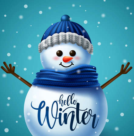 Winter snowman character vector concept design. Hello winter greeting in snow ball space for text in winter snowy background for holiday season. Vector illustration