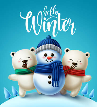 Winter characters vector background design. Hello winter greeting text with 3d snowman and polar bear character wearing scarf for winter holiday season. Vector illustration