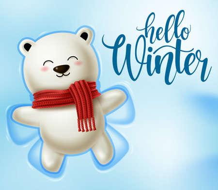 Winter polar bear character vector design.  Hello winter text in snowy space background with playing cute polar bear for winter season greeting design. Vector illustration