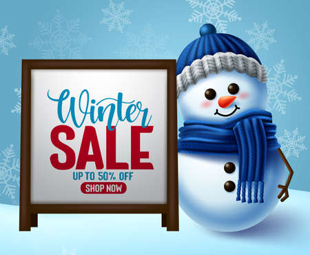 Winter sale vector banner template. Winter sale promotion in white frame for text with snowman 3d character and snowflakes background for promotional purposes design. Vector illustration