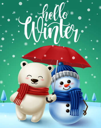 Winter character vector background design. Hello winter text in snowy winter background with 3d polar bear and snowman characters for winter season design. Vector illustration