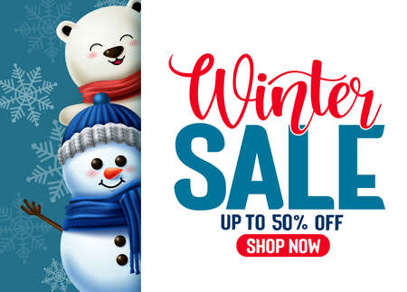 Winter sale vector template banner. Winter sale typography in white empty space for text with 3d snowman and polar bear characters for winter season promotion. Vector illustration