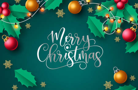 Merry christmas vector background design. Merry christmas greeting text in green background with xmas elements like xmas light, balls and snowflakes  for holiday season celebration. Vector