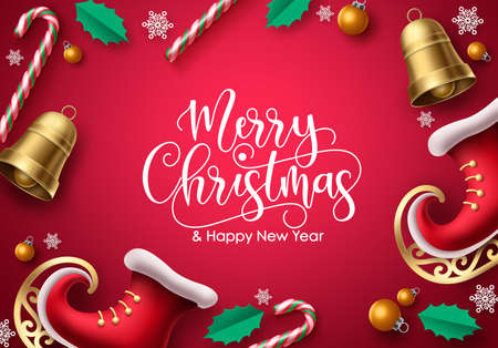 Merry christmas vector background design. Merry christmas greeting typography in empty red space for text and messages for holiday season greeting card. Vector illustration