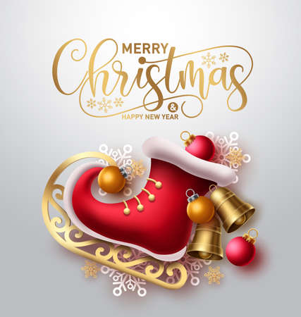 Merry christmas vector concept design. Merry christmas greeting text with 3d red skating shoe and xmas elements like bell, ball and snowflakes for holiday season card. Vector illustration