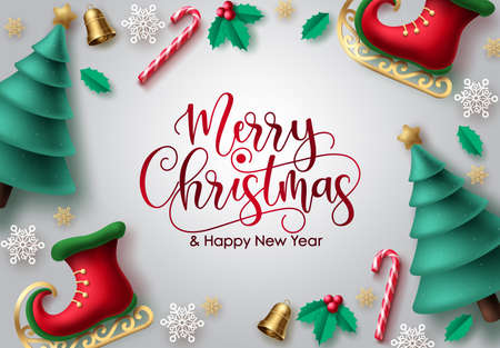 Merry christmas vector background design. Merry christmas greeting typography in white empty space for text messages for xmas holiday season greeting card. Vector illustration Illustration