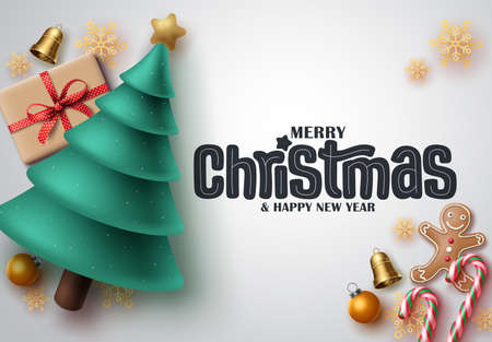 Merry christmas vector banner design. Merry christmas greeting text in white space background with xmas elements like pine tree, gift box, candy cane and snowflakes for holiday season celebration. Illustration