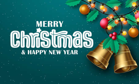 Merry christmas vector background design. Merry christmas typography in green empty space for text in snow winter background for holiday season greeting card. Vector illustration 矢量图像
