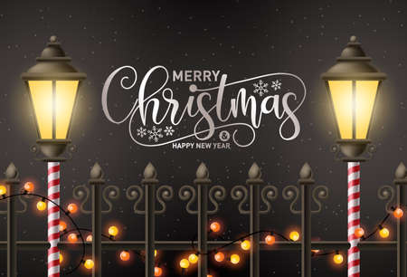 Merry christmas vector background design. Merry chirstmas greeting text in night snow background with xmas light elements for holiday season celebration. Vector illustration