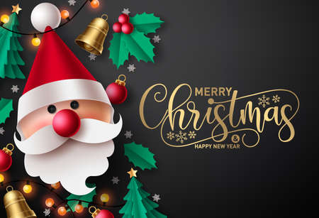Merry christmas vector background design. Merry christmas greeting text in black empty space for typography messages for holiday season greeting card with paper cut santa claus and xmas elements. 矢量图像