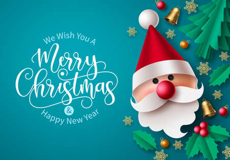 Christmas vector background design. Merry christmas greeting text in empty space for messages for holiday season greeting card with paper cut santa claus xmas elements. Vector illustration
