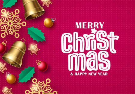 Merry christmas vector background design. Merry christmas greeting typography in red pattern space for text with xmas elements for holiday season card. Vector illustration