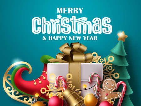 Merry christmas vector banner design. Merry christmas greeting text with colorful xmas elements like gift box, skating shoe and pine tree in green background. Vector illustration