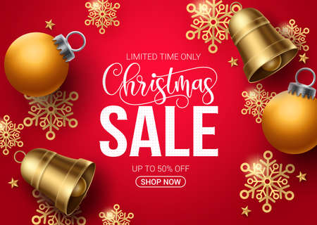 Christmas sale vector banner design. Christmas sale limited offer text in red background with xmas elements like snowflakes, bells and balls for promotional purposes. Vector illustration