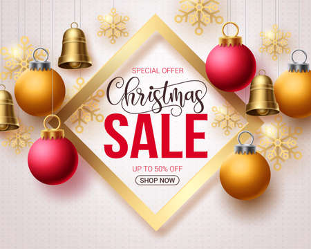 Christmas sale vector template banner. Christmas sale and special offer text in frame with xmas hanging elements like bells, balls and snowflakes for holiday season promotional purposes. Vector