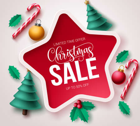 Christmas sale vector template banner. Christmas sale text in star frame design with xmas elements like pine tree, candy cane and balls for holiday season and promotional purposes. Vector illustration