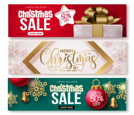 Christmas sale vector banner set. Christmas sale banner collection design for holiday season promotional purposes with xmas elements. Vector illustration