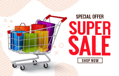 Super sale vector banner design. Special offer sale text with paper bags and push cart shopping elements in abstract background for marketing promo discount advertisement. Vector illustration. 矢量图像
