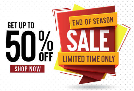 Sale 50% off vector banner concept design. End of season sale text with 50% off in colorful label tag for market shopping discount offer advertisement and promotion. Vector illustration.