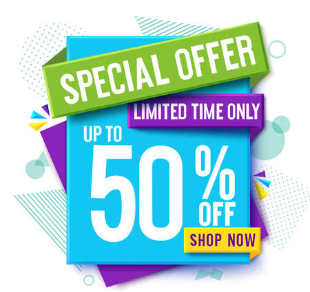 Special offer sale vector banner design. Sale 50% off discount limited time offer text in promo abstract label for business marketing online promotion. Vector illustration. 矢量图像
