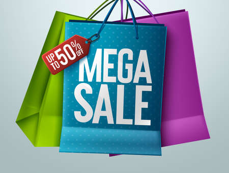 Mega sale vector banner concept design. Mega sale text with 50% off price tag in paper bag elements for shopping discount offer advertisement and promotion. Vector illustration. 矢量图像