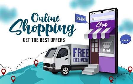 Online shopping sale vector banner design. Online shopping text with mobile application in smartphone element for worldwide mobile business marketing. Vector illustration.