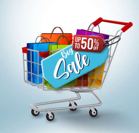 Big sale vector banner concept design. Big sale up to 50% off text in blue and red discount tags with paper bags and push cart element for shopping promotion. Vector illustration. 矢量图像