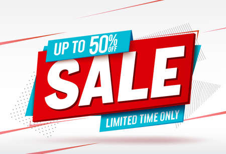 Sale vector banner design. Sale with up to 50% off  text in label tags element for limited time discount promotion offer. Vector illustration.
