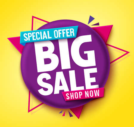 Big sale vector banner design. Big sale special offer text in circle badge tag element for shopping discount promotion. Vector illustration. 矢量图像
