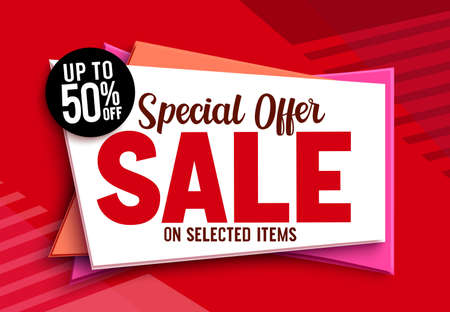 Sale special offer vector banner design. 50% off discount sale text in red abstract background for limited promo marketing advertisement. Vector illustration.
