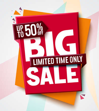Big sale vector banner design. 50% off discount in a label card tags for market shopping promotion advertisement. Vector illustration.