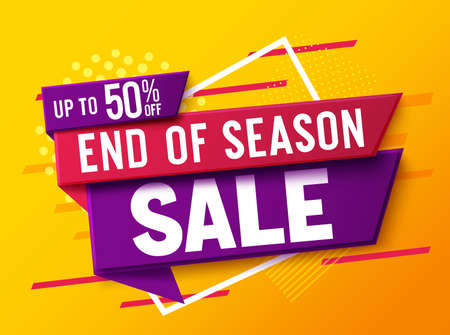 Sale discount vector banner design. 50% off sale text in a label tags for market shopping promotion advertisement. Vector illustration. Vettoriali