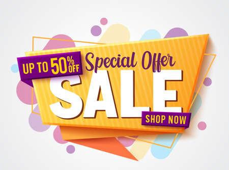 Sale special offer vector banner design. 50% off sale text in colorful abstract background for marketing advertisement discount promo . Vector illustration.