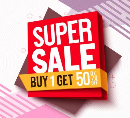 Super sale vector banner design. Buy 1 get 50% off text on shopping deal offer in 3d background for limited promo advertisement. Vector illustration. 矢量图像