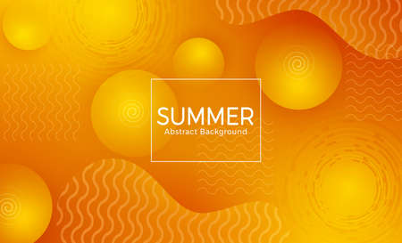 Summer vector abstract template design. Summer abstract background with circle, spiral and wave shapes in geometric orange color for summer backdrop concept. Vector illustration