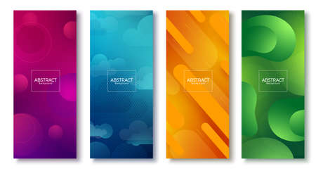 Abstract background vector poster set. Abstract background with colorful geometric gradient element textured shapes for graphic poster collection design. Vector illustration