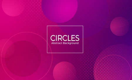 Circle abstract vector banner design. Circles abstract presentation background text with geometric gradient violet circle shape element for wallpaper backdrop. Vector illustration
