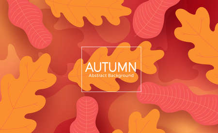 Autumn vector abstract template design. Autumn abstract background text with orange and red leaves textured shape element for fall season digital backdrop. Vector illustration 矢量图像