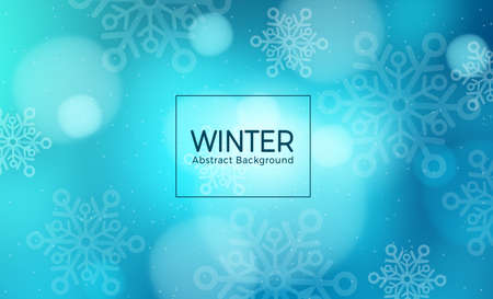 Winter abstract vector template design. Winter abstract background text with snowflakes elements in blue background for winter season cover and wallpaper. Vector illustration